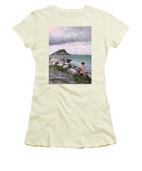 Women's T-Shirt (Junior Cut) featuring the painting Mt Maunganui 140408 by Sylvia Kula