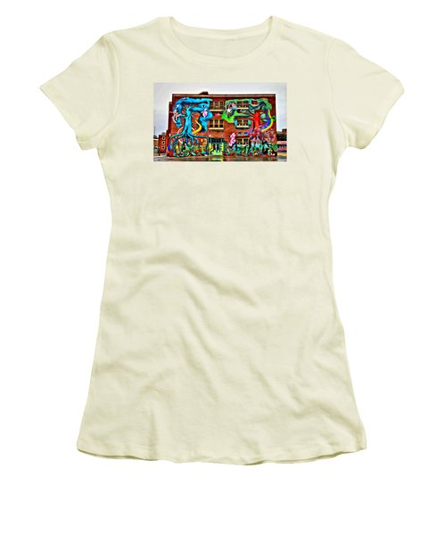 Mural On School Women's T-Shirt (Athletic Fit)