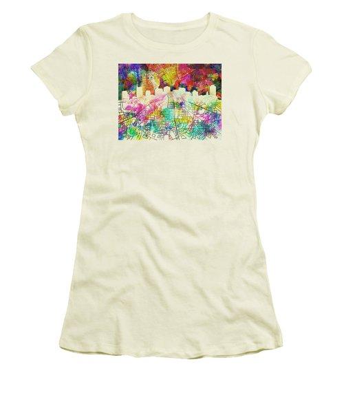 Nashville Skyline Watercolor 7 Women's T-Shirt (Athletic Fit)