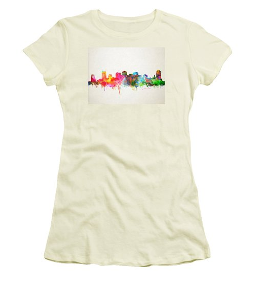 Nashville Skyline Watercolor 9 Women's T-Shirt (Junior Cut) by Bekim Art