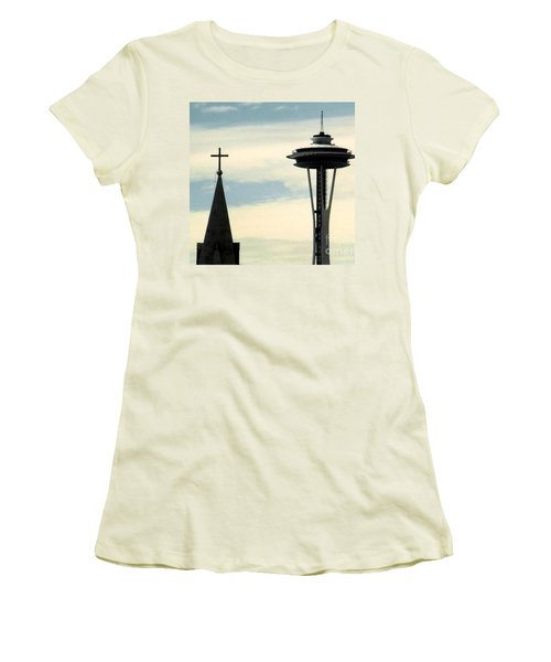 Women's T-Shirt (Junior Cut) featuring the photograph Seattle Washington Space  Needle Steeple And Cross by Michael Hoard