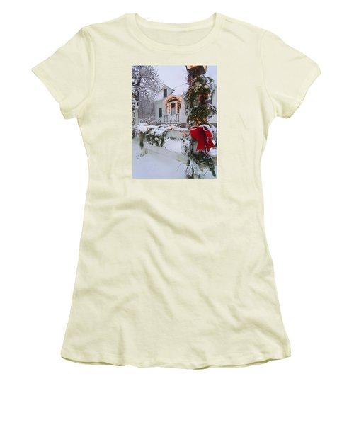 New England Christmas Women's T-Shirt (Junior Cut) by Elizabeth Dow