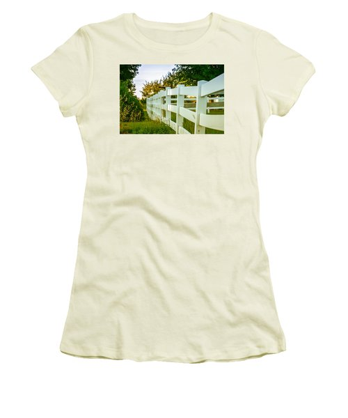 New England Fenceline Women's T-Shirt (Junior Cut) by Brian Caldwell