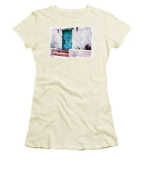 New Mexico Turquoise Door And Cactus  Women's T-Shirt (Athletic Fit)