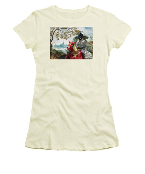 Newfoundland Art - Pasague With Duke Women's T-Shirt (Athletic Fit)