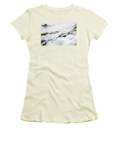 Niagara Falls With Observation Tower Behind Women's T-Shirt (Athletic Fit)