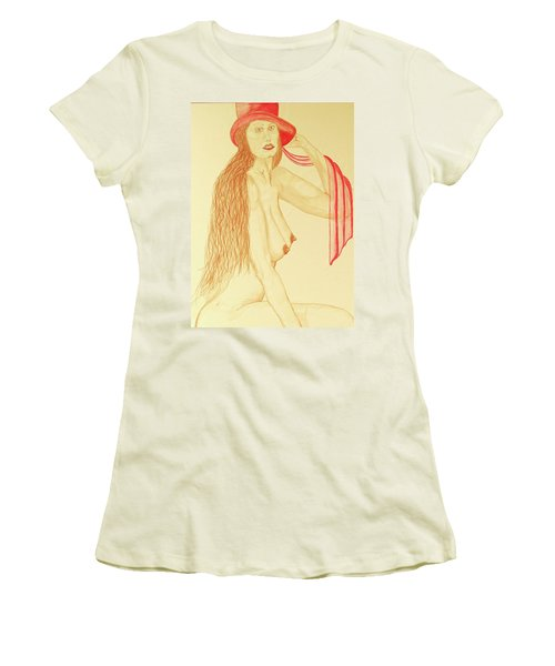 Nude With Red Hat Women's T-Shirt (Junior Cut) by Rand Swift