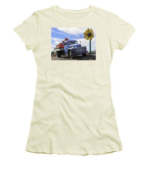 Women's T-Shirt (Junior Cut) featuring the photograph Old Blue Farm Truck  by Patrice Zinck