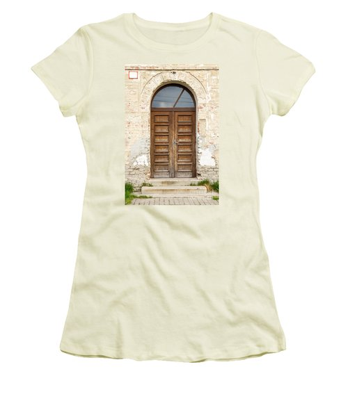Women's T-Shirt (Junior Cut) featuring the photograph Old Church Door by Les Palenik