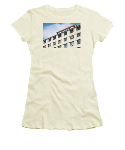 Women's T-Shirt (Junior Cut) featuring the photograph Old Factory Under A Clear Blue Sky by Nick  Biemans