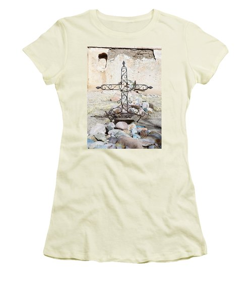 Women's T-Shirt (Junior Cut) featuring the photograph Old Gravestone Marker by Kerri Mortenson