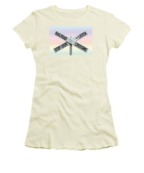 Old Railroad Crossing Sign Women's T-Shirt (Junior Cut) by Phil Cardamone