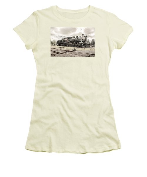 Women's T-Shirt (Junior Cut) featuring the photograph Old Steam Locomotive No. 97 - Made In America by Gary Heller