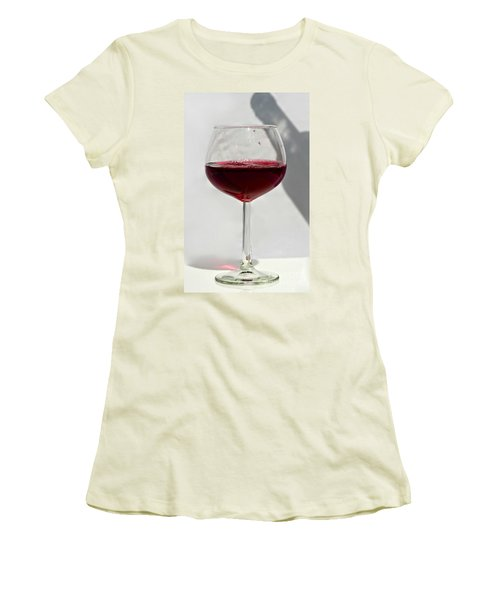 One Glass Of Red Wine With Bottle Shadow Art Prints Women's T-Shirt (Junior Cut) by Valerie Garner