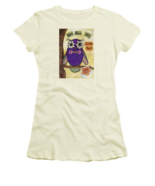 Women's T-Shirt (Junior Cut) featuring the painting Owl Love Story - Whimsical Collage by Ella Kaye Dickey