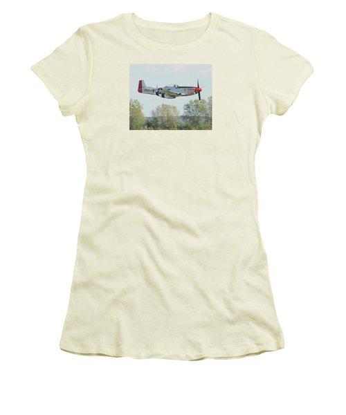 P-51d Mustang Shangrila Women's T-Shirt (Junior Cut) by Alan Toepfer