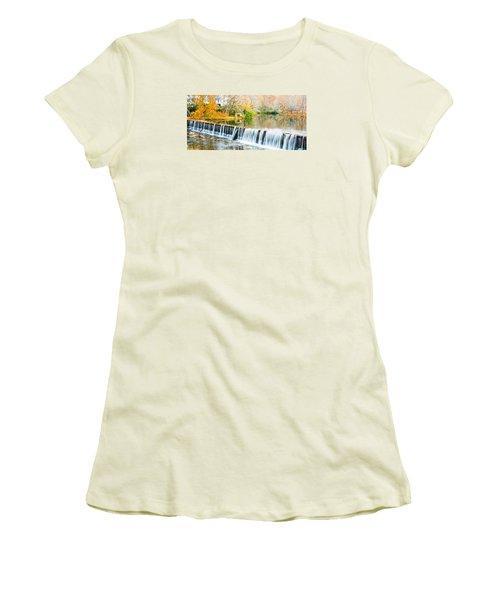 Panorama Of Buck Creek In Autumn Women's T-Shirt (Junior Cut) by Parker Cunningham