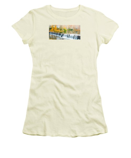 Panorama Of Buck Creek In Autumn Women's T-Shirt (Athletic Fit)