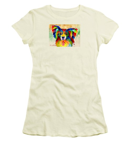 Papillon Women's T-Shirt (Junior Cut) by Sherry Shipley