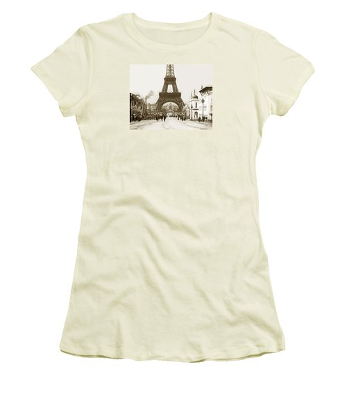 Women's T-Shirt (Junior Cut) featuring the photograph Paris Exposition Eiffel Tower Paris France 1900  Historical Photos by California Views Mr Pat Hathaway Archives