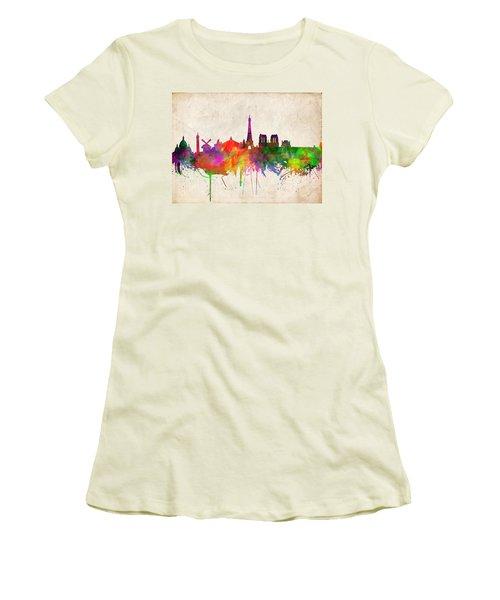 Paris Skyline Watercolor  Women's T-Shirt (Athletic Fit)