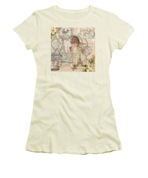 Paris Vintage Collage With Child Women's T-Shirt (Athletic Fit)