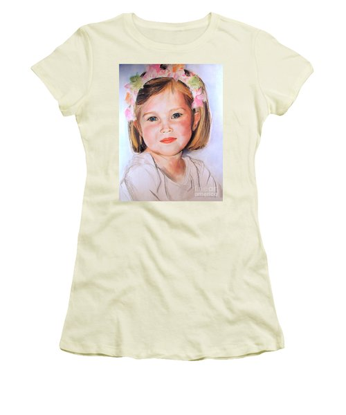 Pastel Portrait Of Girl With Flowers In Her Hair Women's T-Shirt (Athletic Fit)