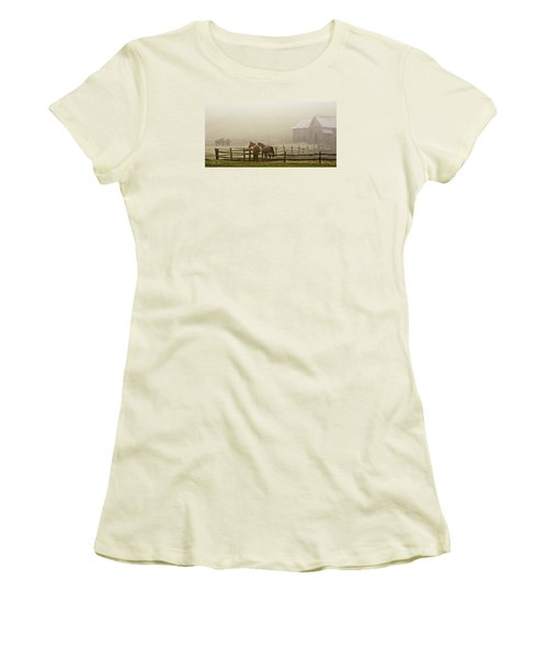 Women's T-Shirt (Junior Cut) featuring the photograph Patiently Waiting by Joan Davis