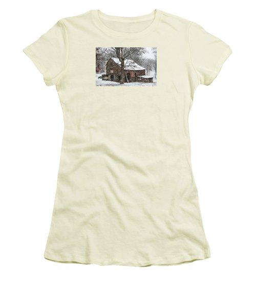Patriotic Tobacco Barn Women's T-Shirt (Junior Cut) by Debbie Green