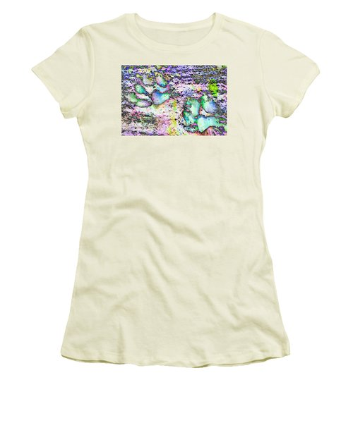 Paw Prints Vibrant Pastel Women's T-Shirt (Athletic Fit)