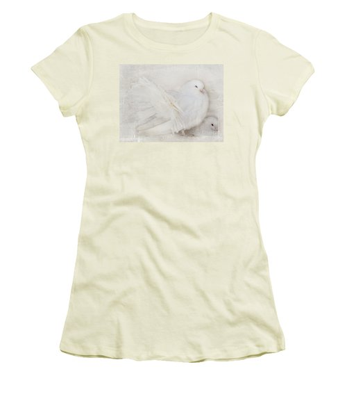 Peaceful Existence White On White Women's T-Shirt (Athletic Fit)