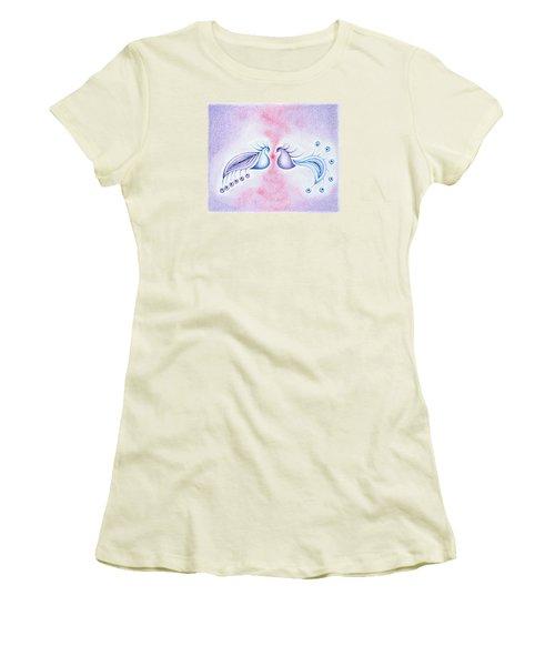 Women's T-Shirt (Junior Cut) featuring the drawing Peacock Dance by Keiko Katsuta