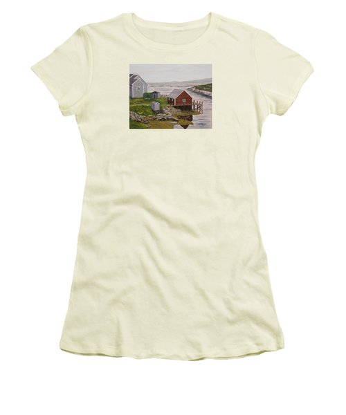 Peggy's Cove Women's T-Shirt (Junior Cut) by Alan Mager