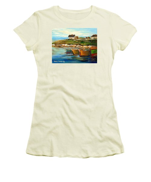 Peggys Cove With Fishing Boats Women's T-Shirt (Athletic Fit)