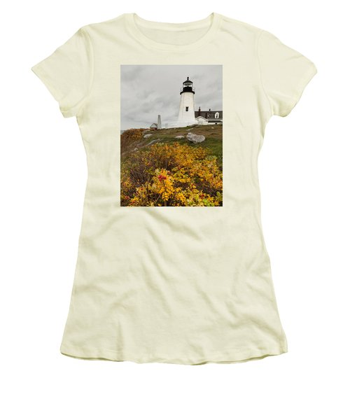 Pemaquid Point Lighthouse And Sea Roses Women's T-Shirt (Junior Cut)