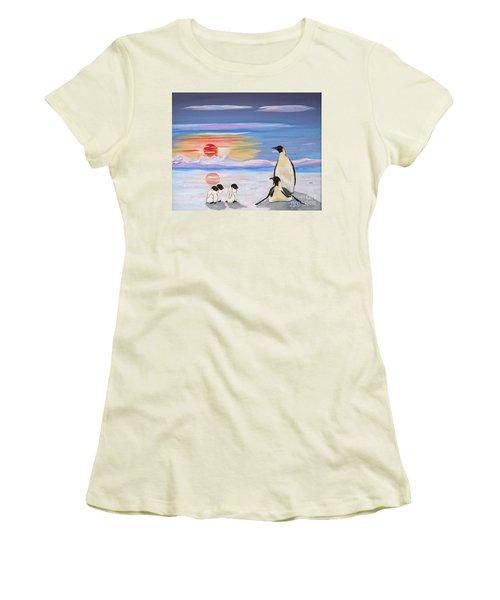 Penguin Family Women's T-Shirt (Junior Cut) by Phyllis Kaltenbach