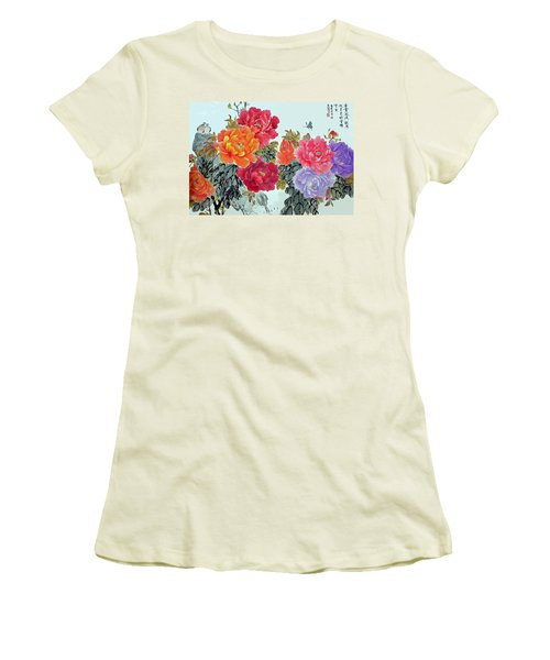 Peonies And Birds Women's T-Shirt (Junior Cut) by Yufeng Wang