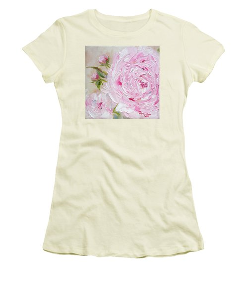 Women's T-Shirt (Athletic Fit) featuring the painting Peony by Judith Rhue