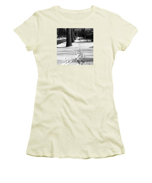 Pet Prints In The Snow Women's T-Shirt (Junior Cut) by Frank J Casella