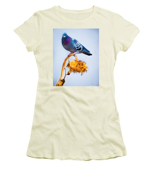 Pigeon On Sunflower Women's T-Shirt (Athletic Fit)