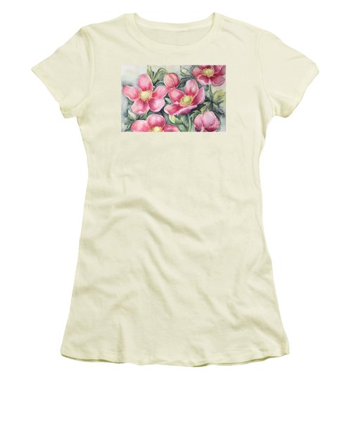 Women's T-Shirt (Junior Cut) featuring the painting Pink Anemones by Inese Poga