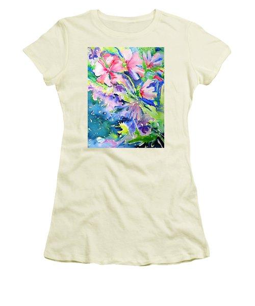 Pink Lavatera Profusion Women's T-Shirt (Junior Cut) by Trudi Doyle