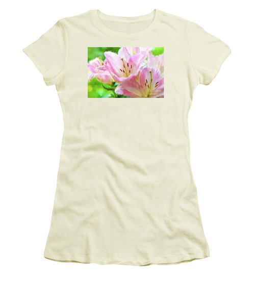 Pink Lilies Digital Painting Impasto Women's T-Shirt (Athletic Fit)