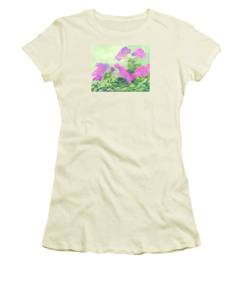 Pink Petunias Beautiful Flowers Art Colorful Original Garden Floral Flower Artist K. Joann Russell  Women's T-Shirt (Athletic Fit)