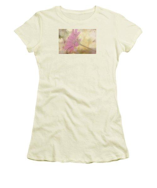 Pink Textured Gazania Women's T-Shirt (Junior Cut) by Sandra Foster