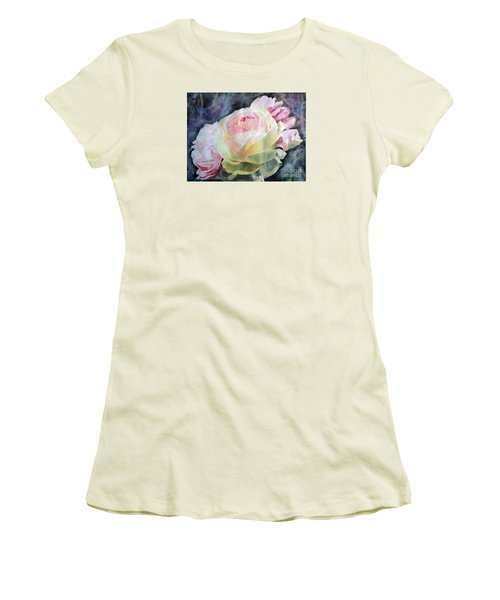 Pink Yellow Rose Angela Women's T-Shirt (Junior Cut) by Greta Corens