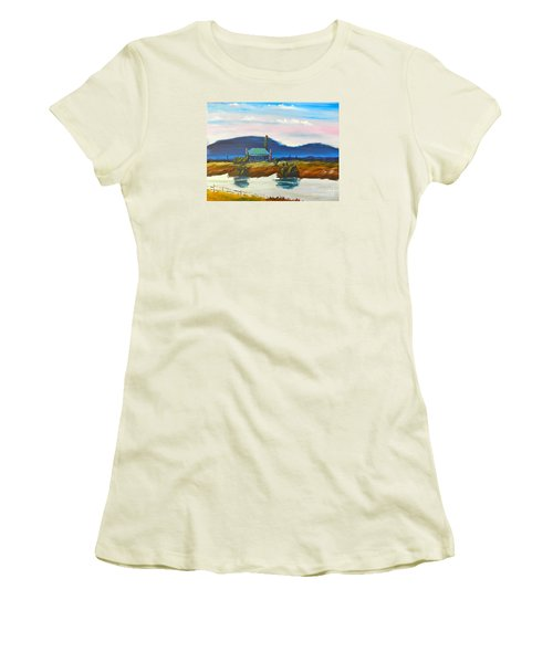 Women's T-Shirt (Junior Cut) featuring the painting Pittown by Pamela  Meredith