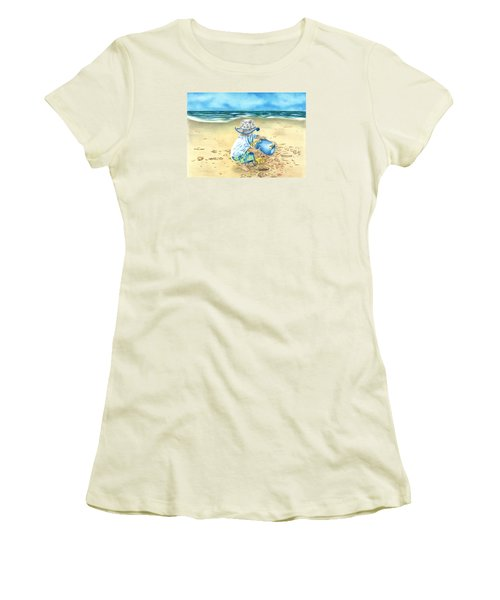 Women's T-Shirt (Junior Cut) featuring the drawing Playing On The Beach by Troy Levesque