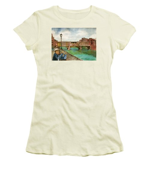 Ponte Vecchio Florence Italy Women's T-Shirt (Junior Cut) by Frank Hunter