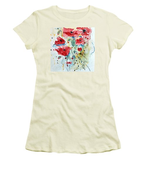 Women's T-Shirt (Junior Cut) featuring the painting Poppies 04 by Ismeta Gruenwald